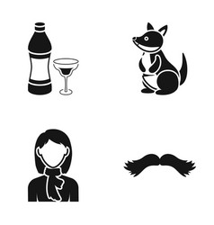 a bottle of alcohol a kangaroo and other web icon vector image vector image