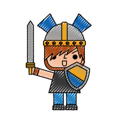 Avatar of a video game warrior with sword vector