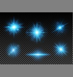 blue lights set vector image vector image