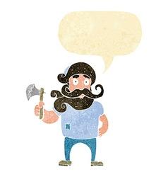 Cartoon lumberjack with axe with speech bubble vector