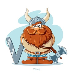 Cartoons Alphabet - Letter V with funny Viking vector image