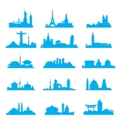 Cityscape with famous attractions silhouette set vector