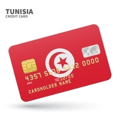 Credit card with Tunisia flag background for bank vector image vector image