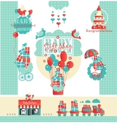 Cute designs set for baby shower gift store vector