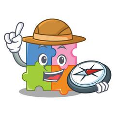 Explorer puzzle mascot cartoon style vector