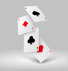 Falling poker playing cards of aces casino vector