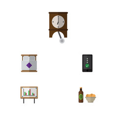 Flat icon oneday set of clock whiteboard beer vector
