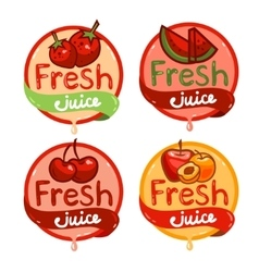 Fresh juice emblem set 3 vector