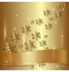 Golden plate with snowflakes and golden ribbon vector