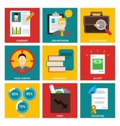 Job interview nine flat items concept vector