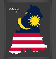Kelantan malaysia map with malaysian national flag vector