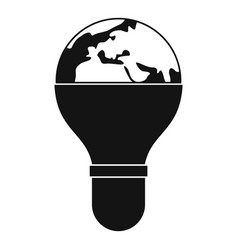 Light bulb and planet earth icon simple vector