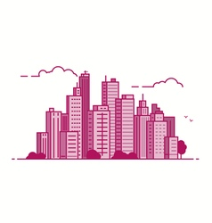 Line city pink color vector