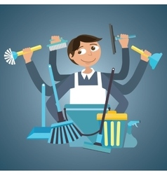 Man male cleaning service house office cleaner vector