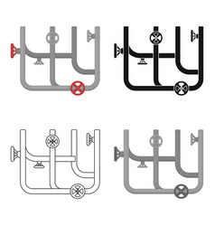 Pipes with valves icon in cartoon style isolated vector