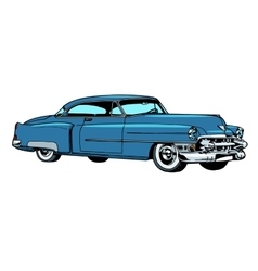 Retro blue car classic abstract model vector