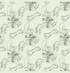 Seamless pattern with french bulldog vector