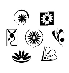 set of flowers icons vector image vector image