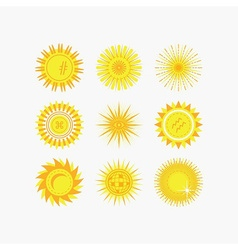 Set of yellow sun beams and flowers icons vector image vector image