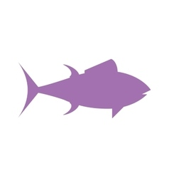 Tuna fish cartoon animals flat silhouette vector image