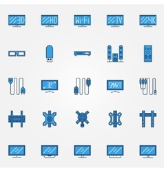 Tv blue icons set vector