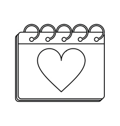 Valentine day calendar love heart date outline vector