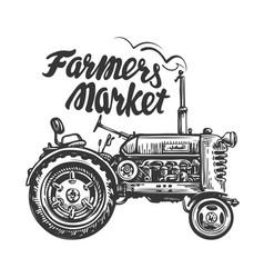 Vintage agricultural tractor sketch farmers vector