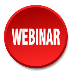 Webinar red round flat isolated push button vector