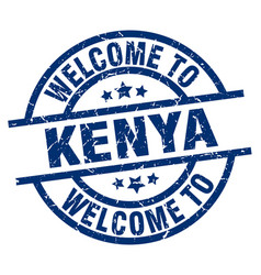 welcome to kenya blue stamp vector image
