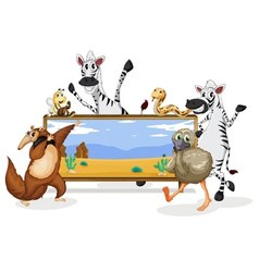 various animals and board vector image