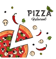 Delicious vegetarian pizza background with cheese vector