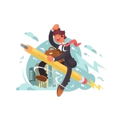 Businessman fly on pencil vector
