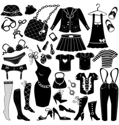 Womans clothes fashion and accessory icon set vector