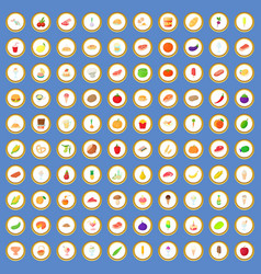 100 food icons set cartoon vector image