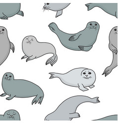 Pretty seals seamless pattern marine vector