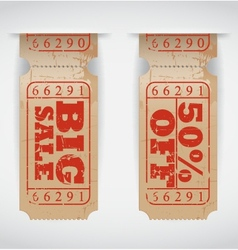 Vintage paper sale ticket vector