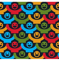 Seamless background with colorful smiley faces vector image