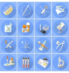 Medicine icons set flat vector