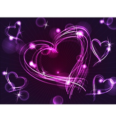 Neon or plasma purple hearts vector