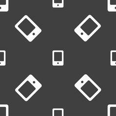Tablet icon sign seamless pattern on a gray vector