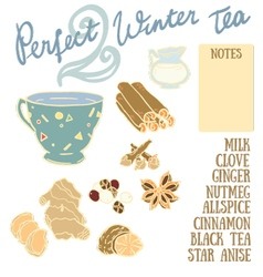 Perfect winter tea recipe with cinnamon vector