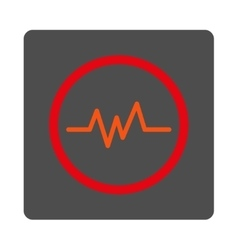 Ecg monitoring rounded square button vector