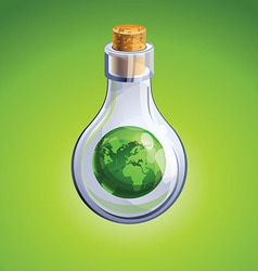 Glass bottle with globe vector