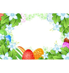 Flower frame easter eggs vector