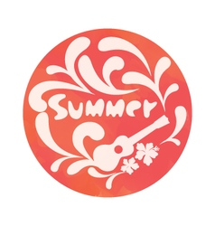 Summer background with ukulele and flowers vector