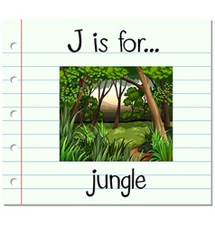 Flashcard letter j is for jungle vector