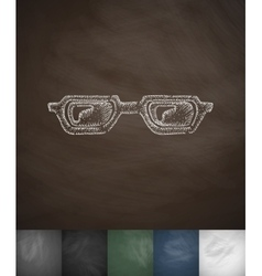 Glasses icon hand drawn vector