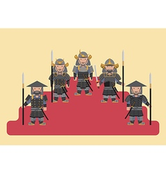 Ancient japanese soldier flat graphic vector image
