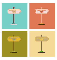 Assembly flat icons university sign vector