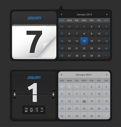 Black Calendar Set vector image
